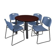 """Regency Kee 42"""" Round Breakroom Table- Mahogany/ Black and 4 Zeng Stack Chairs- Blue (TB42RDMHPBK44BE)"""