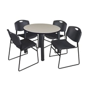 "Regency Kee 42"" Round Breakroom Table- Maple/ Black and 4 Zeng Stack Chairs- Black (TB42RDPLPBK44BK)"