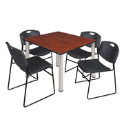 "Regency Kee 48"" Square Breakroom Table- Cherry/ Chrome and 4 Zeng Stack Chairs- Black (TB4848CHPCM44BK)"