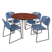 "Regency Kee 48"" Round Breakroom Table- Cherry/ Chrome and 4 Zeng Stack Chairs- Blue (TB48RDCHPCM44BE)"