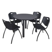"Regency Kee 48"" Round Breakroom Table- Grey/ Black and 4 'M' Stack Chairs- Black (TB48RDGYPBK47BK)"