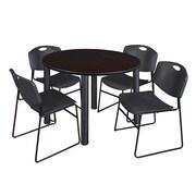 "Regency Kee 48"" Round Breakroom Table- Mocha Walnut/ Black and 4 Zeng Stack Chairs- Black (TB48RDMWPBK44BK)"