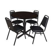 "Regency Cain 36"" Round Breakroom Table- Mocha Walnut and 4 Restaurant Stack Chairs- Black (TB36RNDMW29BK)"