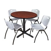 """Regency Cain 42"""" Round Breakroom Table- Cherry and 4 'M' Stack Chairs- Grey (TB42RNDCH47GY)"""