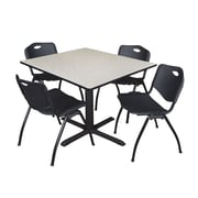 "Regency Cain 48"" Square Breakroom Table- Maple and 4 'M' Stack Chairs- Black (TB4848PL47BK)"