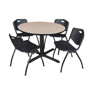 """Regency Cain 48"""" Round Breakroom Table- Beige and 4 'M' Stack Chairs- Black (TB48RNDBE47BK)"""