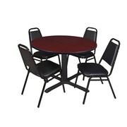 "Regency Cain 48"" Round Breakroom Table- Mahogany and 4 Restaurant Stack Chairs- Black (TB48RNDMH29BK)"