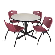 "Regency Cain 48"" Round Breakroom Table- Maple and 4 'M' Stack Chairs- Burgundy (TB48RNDPL47BY)"