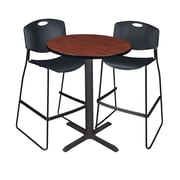 "Regency Cain 30"" Round Cafe Table- Cherry and 2 Zeng Stack Stools- Black (TCB30RNDCH4495)"