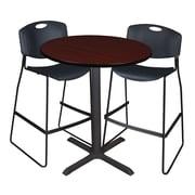 "Regency Cain 36"" Round Cafe Table- Mahogany and 2 Zeng Stack Stools- Black (TCB36RNDMH4495)"