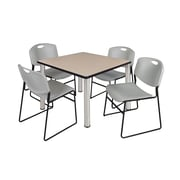 "Regency Kee 42"" Square Breakroom Table- Beige/ Chrome and 4 Zeng Stack Chairs- Grey (TB4242BEPCM44GY)"