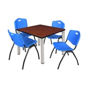 """Regency Kee 42"""" Square Breakroom Table- Cherry/ Chrome and 4 'M' Stack Chairs- Blue (TB4242CHPCM47BE)"""