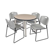 "Regency Kee 42"" Round Breakroom Table- Beige/ Chrome and 4 Zeng Stack Chairs- Grey (TB42RDBEPCM44GY)"