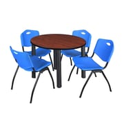 "Regency Kee 42"" Round Breakroom Table- Cherry/ Black and 4 'M' Stack Chairs- Blue (TB42RDCHPBK47BE)"