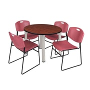 "Regency Kee 42"" Round Breakroom Table- Cherry/ Chrome and 4 Zeng Stack Chairs- Burgundy (TB42RDCHPCM44BY)"