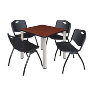 "Regency Kee 30"" Square Breakroom Table- Cherry/ Chrome and 4 'M' Stack Chairs- Black (TB3030CHPCM47BK)"
