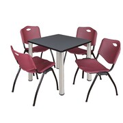 "Regency Kee 30"" Square Breakroom Table- Grey/ Chrome and 4 'M' Stack Chairs- Burgundy (TB3030GYPCM47BY)"