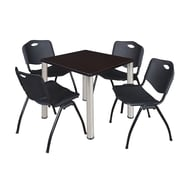 "Regency Kee 30"" Square Breakroom Table- Mocha Walnut/ Chrome and 4 'M' Stack Chairs- Black (TB3030MWPCM47BK)"