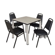 "Regency Kee 30"" Square Breakroom Table- Maple/ Chrome and 4 Restaurant Stack Chairs- Black (TB3030PLPCM29BK)"