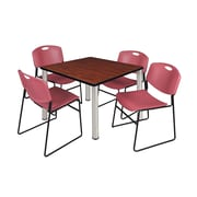 "Regency Kee 36"" Square Breakroom Table- Cherry/ Chrome and 4 Zeng Stack Chairs- Burgundy (TB3636CHPCM44BY)"