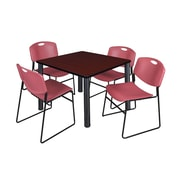 """Regency Kee 36"""" Square Breakroom Table- Mahogany/ Black and 4 Zeng Stack Chairs- Burgundy (TB3636MHPBK44BY)"""