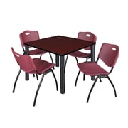 """Regency Kee 36"""" Square Breakroom Table- Mahogany/ Black and 4 'M' Stack Chairs- Burgundy (TB3636MHPBK47BY)"""