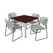 """Regency Kee 36"""" Square Breakroom Table- Mahogany/ Chrome and 4 Zeng Stack Chairs- Grey (TB3636MHPCM44GY)"""