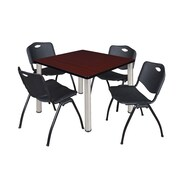 "Regency Kee 36"" Square Breakroom Table- Mahogany/ Chrome and 4 'M' Stack Chairs- Black (TB3636MHPCM47BK)"