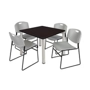 """Regency Kee 36"""" Square Breakroom Table- Mocha Walnut/ Chrome and 4 Zeng Stack Chairs- Grey (TB3636MWPCM44GY)"""