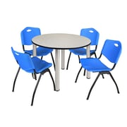 "Regency Kee 48"" Round Breakroom Table- Maple/ Chrome and 4 'M' Stack Chairs- Blue (TB48RDPLPCM47BE)"