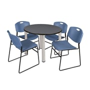 "Regency Kee 42"" Round Breakroom Table- Grey/ Chrome and 4 Zeng Stack Chairs- Blue (TB42RDGYPCM44BE)"