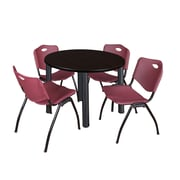"Regency Kee 42"" Round Breakroom Table- Mocha Walnut/ Black and 4 'M' Stack Chairs- Burgundy (TB42RDMWPBK47BY)"