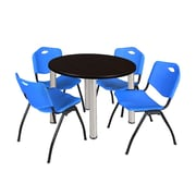"Regency Kee 42"" Round Breakroom Table- Mocha Walnut/ Chrome and 4 'M' Stack Chairs- Blue (TB42RDMWPCM47BE)"
