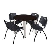 "Regency Kee 42"" Round Breakroom Table- Mocha Walnut/ Chrome and 4 'M' Stack Chairs- Black (TB42RDMWPCM47BK)"