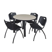 "Regency Kee 42"" Round Breakroom Table- Maple/ Black and 4 'M' Stack Chairs- Black (TB42RDPLPBK47BK)"