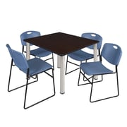 "Regency Kee 48"" Square Breakroom Table- Mocha Walnut/ Chrome and 4 Zeng Stack Chairs- Blue (TB4848MWPCM44BE)"