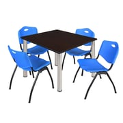 """Regency Kee 48"""" Square Breakroom Table- Mocha Walnut/ Chrome and 4 'M' Stack Chairs- Blue (TB4848MWPCM47BE)"""