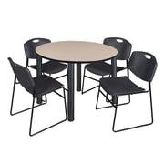 """Regency Kee 48"""" Round Breakroom Table- Beige/ Black and 4 Zeng Stack Chairs- Black (TB48RDBEPBK44BK)"""