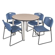 "Regency Kee 48"" Round Breakroom Table- Beige/ Chrome and 4 Zeng Stack Chairs- Blue (TB48RDBEPCM44BE)"