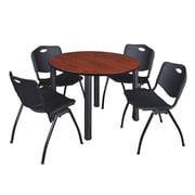 "Regency Kee 48"" Round Breakroom Table- Cherry/ Black and 4 'M' Stack Chairs- Black (TB48RDCHPBK47BK)"