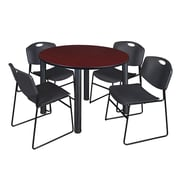 "Regency Kee 48"" Round Breakroom Table- Mahogany/ Black and 4 Zeng Stack Chairs- Black (TB48RDMHPBK44BK)"