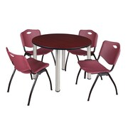 "Regency Kee 48"" Round Breakroom Table- Mahogany/ Chrome and 4 'M' Stack Chairs- Burgundy (TB48RDMHPCM47BY)"