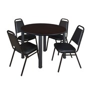 "Regency Kee 48"" Round Breakroom Table- Mocha Walnut/ Black and 4 Restaurant Stack Chairs- Black (TB48RDMWPBK29BK)"