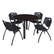 "Regency Kee 48"" Round Breakroom Table- Mocha Walnut/ Black and 4 'M' Stack Chairs- Black (TB48RDMWPBK47BK)"