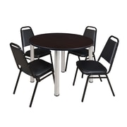 "Regency Kee 48"" Round Breakroom Table- Mocha Walnut/ Chrome and 4 Restaurant Stack Chairs- Black (TB48RDMWPCM29BK)"