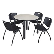 "Regency Kee 48"" Round Breakroom Table- Maple/ Black and 4 'M' Stack Chairs- Black (TB48RDPLPBK47BK)"