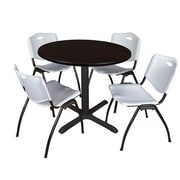 "Regency Cain 36"" Round Breakroom Table- Mocha Walnut and 4 'M' Stack Chairs- Grey (TB36RNDMW47GY)"