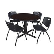 "Regency Cain 48"" Round Breakroom Table- Mocha Walnut and 4 'M' Stack Chairs- Black (TB48RNDMW47BK)"