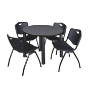 "Regency Kee 42"" Round Breakroom Table- Grey/ Black and 4 'M' Stack Chairs- Black (TB42RDGYPBK47BK)"
