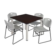"Regency Kee 48"" Square Breakroom Table- Mocha Walnut/ Chrome and 4 Zeng Stack Chairs- Grey (TB4848MWPCM44GY)"